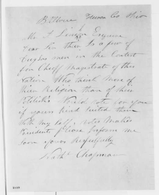 Nathaniel Chapman to Abraham Lincoln, Monday, May 28, 1860  (Inquiry concerning Lincoln's religion)