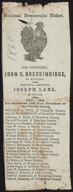 National Democratic ticket. For President, John C. Breckinridge of Kentucky. [Ohio Campaign ticket]