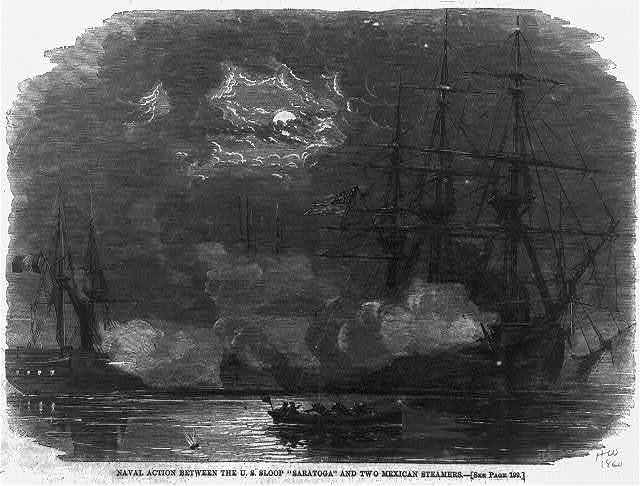 Naval action between the U.S. Sloop SARATOGA and two Mexican steamers
