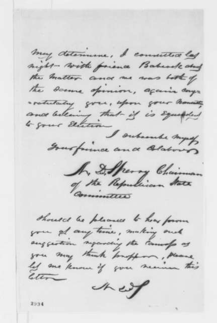 Nehemiah Sperry to Abraham Lincoln, Sunday, May 27, 1860  (Congratulations from chairman of the Connecticut State Republican Committee)