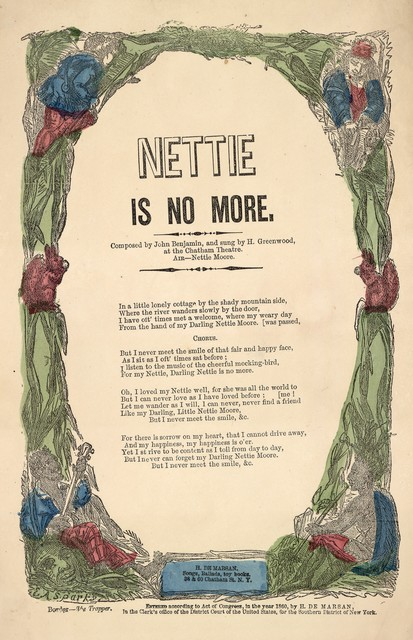 Nettie is no more. By John Benjamin. Air--Nettie Moore. H. De Marsan, Publisher, 38 & 60 Chatham St., N. Y. [c. 1860]