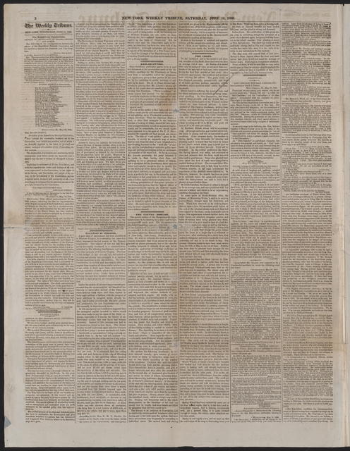 New York Tribune, [newspaper]. June 16, 1860.