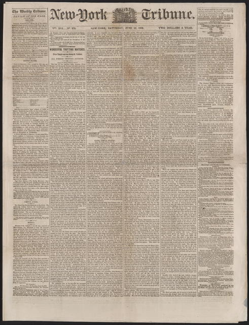New York Tribune, [newspaper]. June 16, 1860.