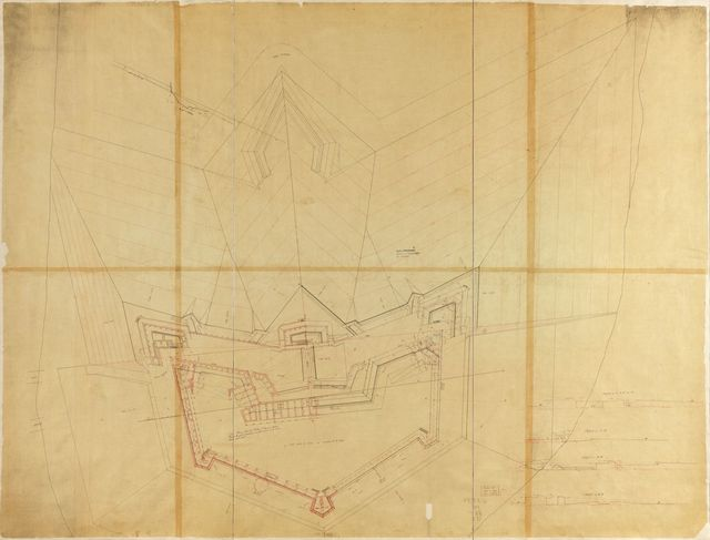 No. 2 plan of fort for Sta. Rosa Id., Pensacola Harbour, shewing the general dimensions and the relations of the several parts of the work.