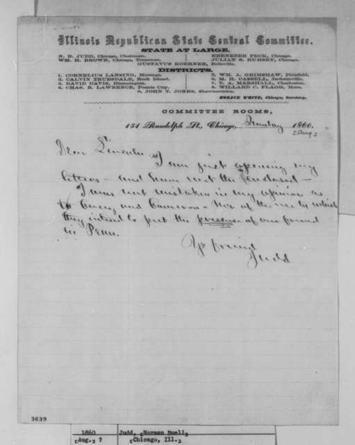 Norman B. Judd to Abraham Lincoln, Sunday, August 26, 1860  (Pennsylvania politics)
