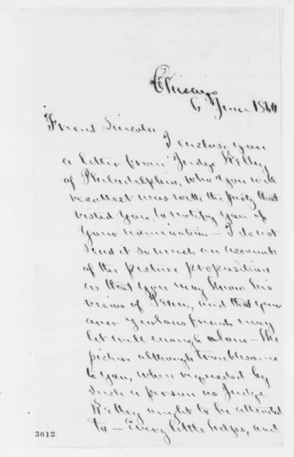 Norman B. Judd to Abraham Lincoln, Wednesday, June 06, 1860  (Suggests key political issues for Lincoln to consider)