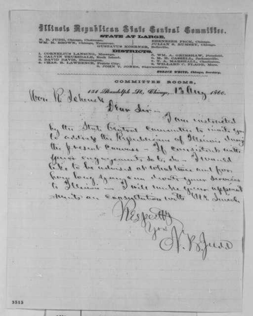 Norman B. Judd to Robert Schenck, Monday, August 13, 1860  (Invitation to speak)