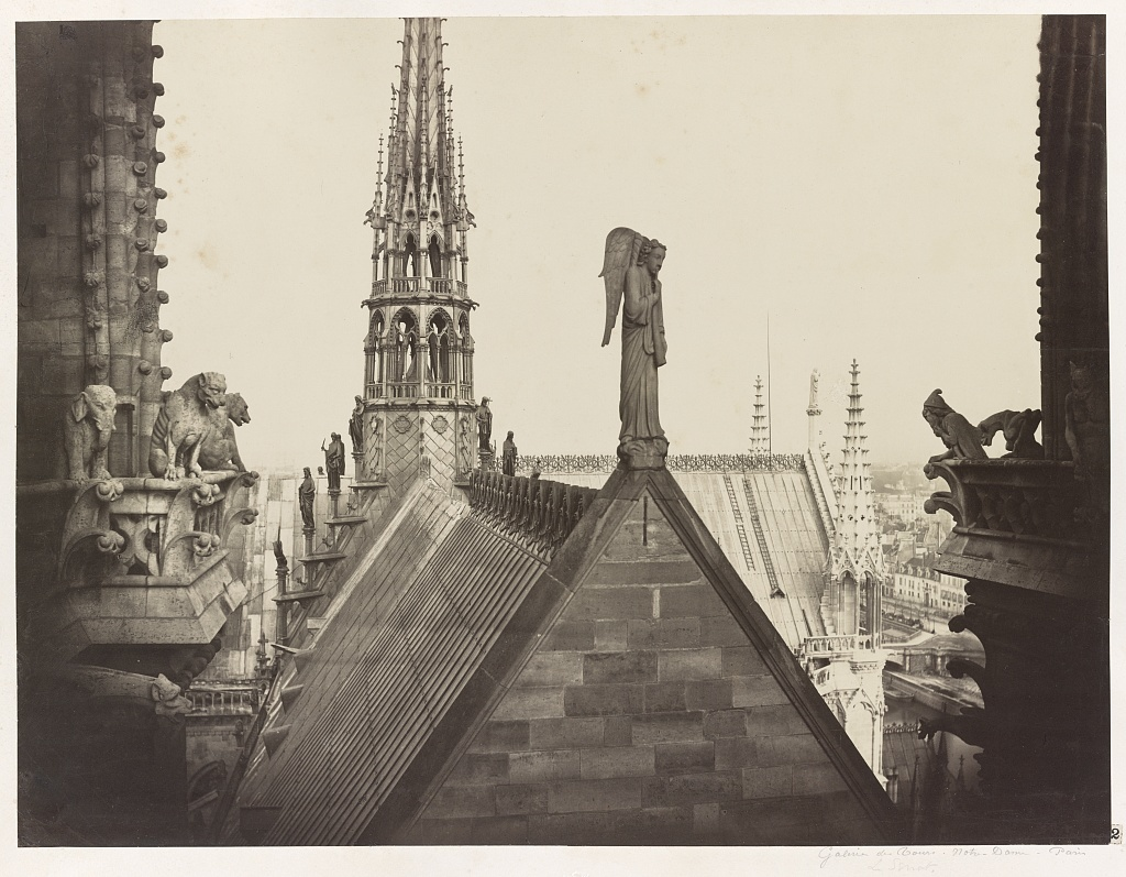 [Notre Dame, Paris, France. View from spire of roofs, statuary, and gable] / Ch. Marville.
