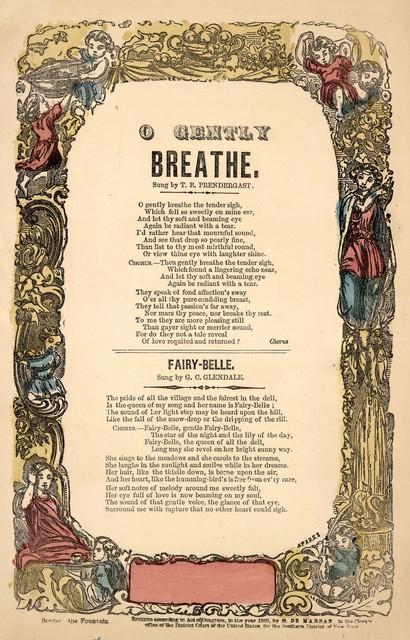 O gently breathe. H. De Marsan, Publisher, 54 Chatham Street, N. Y. [c. 1860]