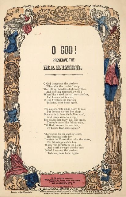 O God! preserve the mariner. H. De Marsan, Publisher, 38 Chatham Street, N. Y