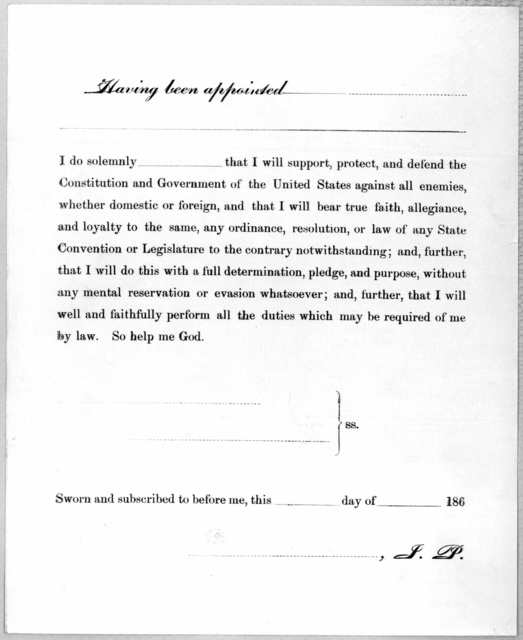 [Oath of allegiance to the United States. with place for signature and of person taking the oak and for the notary] [n. p. n. d.].