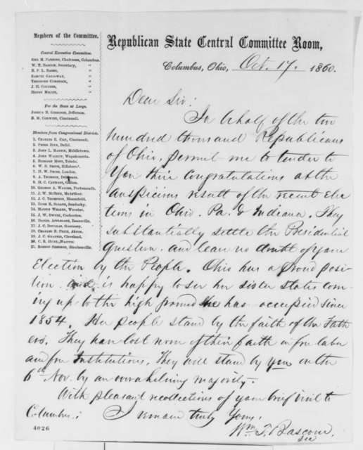 Ohio Republican Central Committee to Abraham Lincoln, Wednesday, October 17, 1860  (Congratulations)
