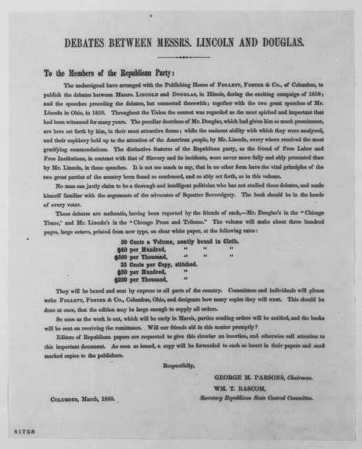 Ohio Republican State Central Committee, March 1860  (Printed Circular regarding publication of Lincoln-Douglas Debates)