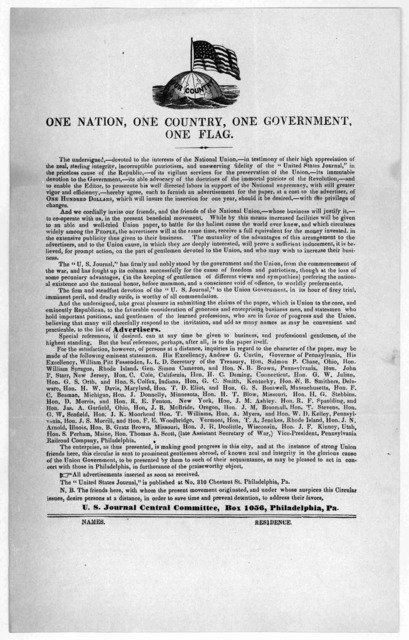 One nation, one country, one government, one flag ... U. S. Journal Central Committee, Bos. 1056, Philadelphia, Pa. [186-].