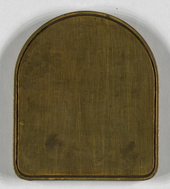 Original brass dies used for 1860 edition of leaves of grass. [blank tombstone-shaped plate]