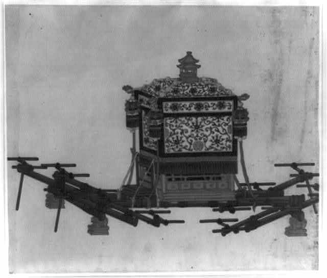 [Ornate palanquin for noble or wealthy man, to be carried by eight persons]