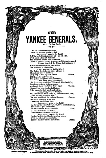 Our Yankee generals. Air: Dixie's land. H. De Marsan, Publisher, 38 & 60 Chatham Street, N. Y