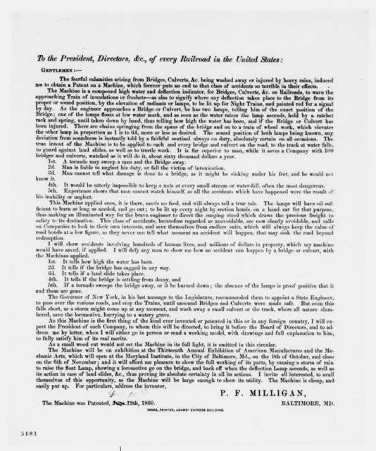P. F. Milligan, Tuesday, December 18, 1860  (Printed Circular)