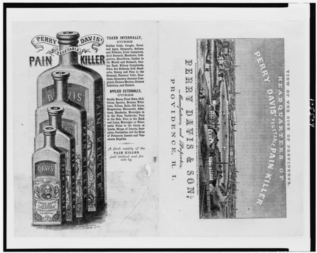 [Patent medicine labels for Perry Davis & Son, showing view of Providence, R.I., and four patent medicine bottles] / Kilburn & Mallory sc., Boston.