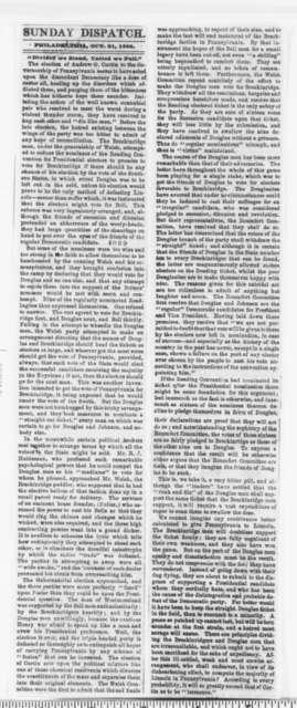 Philadelphia Sunday Dispatch, Sunday, October 21, 1860  (Clipping)
