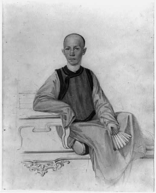 [Portrait of a young scholar, full-length, seated, facing front, holding a fan in left hand]