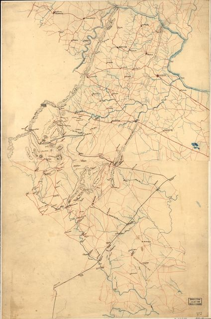 [Preliminary map of northern Virginia embracing portions of Loudoun, Fauquier, Prince William, and Culpeper counties].