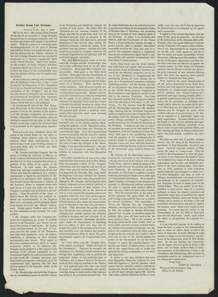 [Printed] Letter from Col. John H. George.