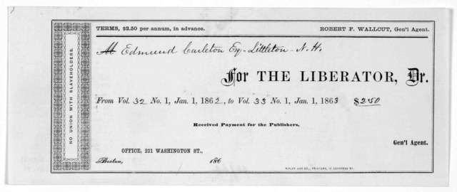 [Printed receipt for subscription payment. Boston, 186-].