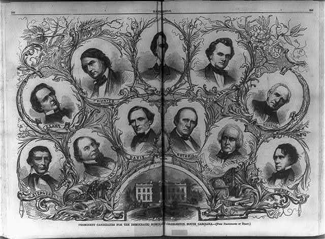 Prominent candidates for the Democratic nomination at Charleston, S.C. [Composite of bust portraits of Stephens, Orr, Davis, Guthrie, Slidell, Pierce, J. Lane, Hunter, Breckenridge, Douglas, and Houston]