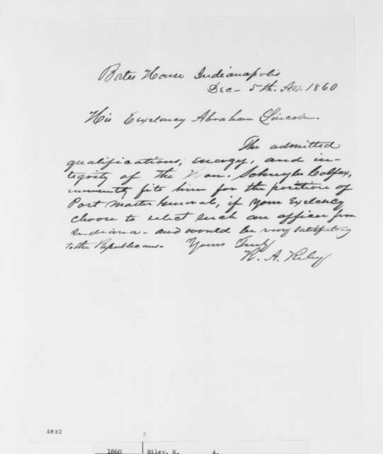 R. A. Riley to Abraham Lincoln, Wednesday, December 05, 1860  (Recommendation for Colfax)