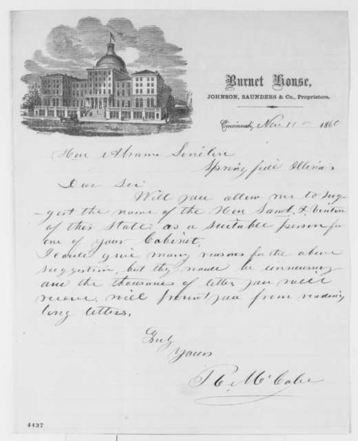 R. McCabe to Abraham Lincoln, Sunday, November 11, 1860  (Recommends Samuel Vinton for cabinet)