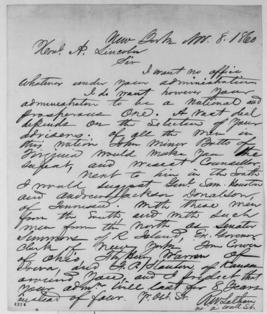 R. W. Latham to Abraham Lincoln, Thursday, November 08, 1860  (Wants Southerners in cabinet)