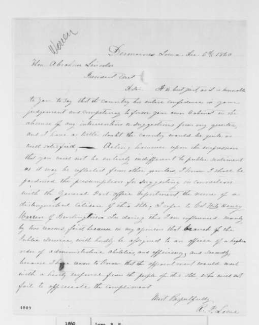 Ralph P. Lowe to Abraham Lincoln, Thursday, December 06, 1860  (Recommends Fitz Henry Warren for cabinet)