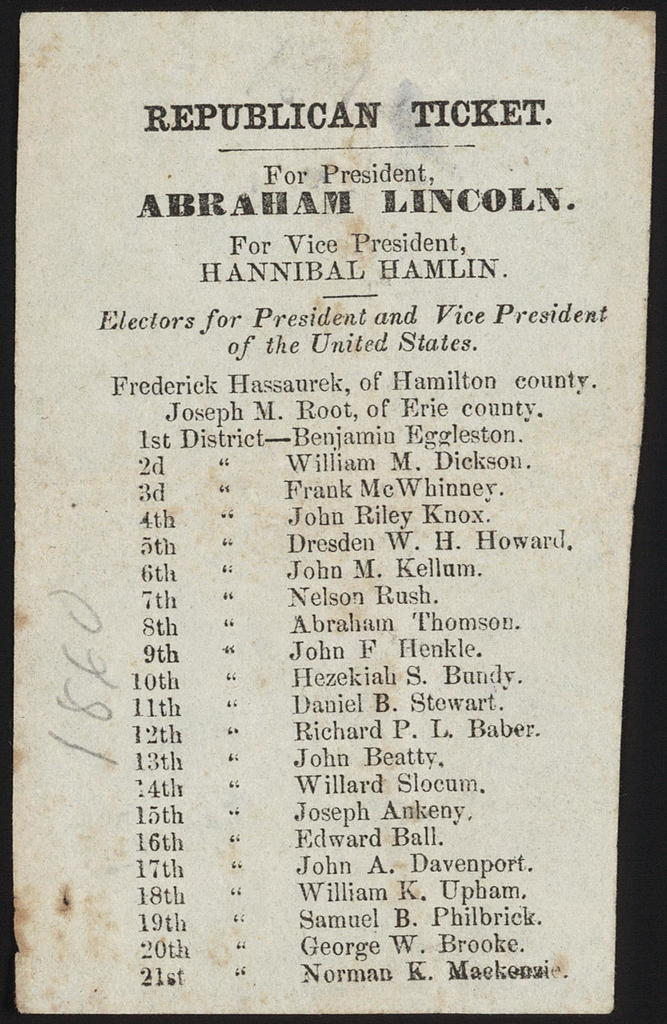 Republican ticket. For President, Abraham Lincoln, For Vice-President, Hannibal Hamlin. [Ohio campaign ticket]