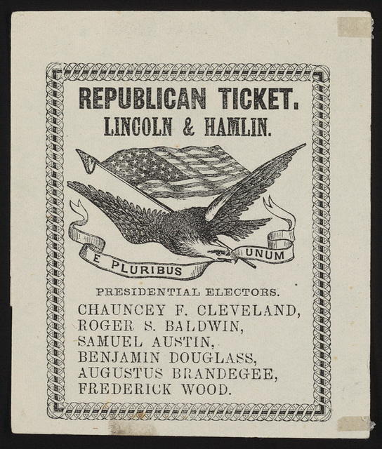 Republican ticket. Lincoln & Hamlin. [Connecticut campaign ticket]