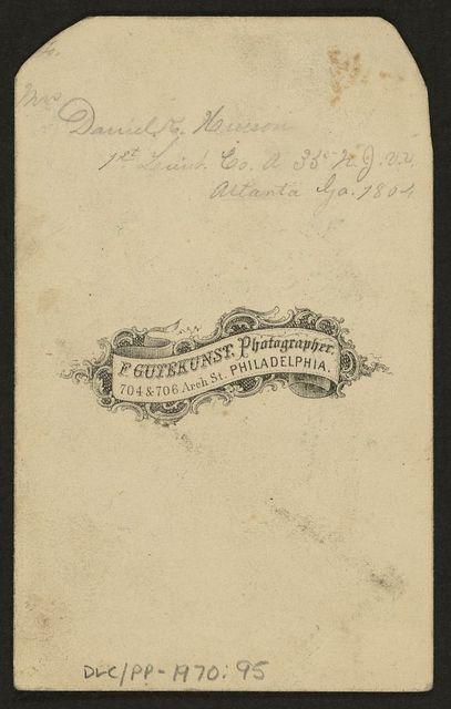 Rev. Jacob M. Hinson / F. Gutekunst, photographer, 704 & 706 Arch St., Philadelphia.