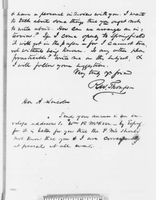 Richard W. Thompson to Abraham Lincoln, Friday, July 06, 1860  (Indiana politics)