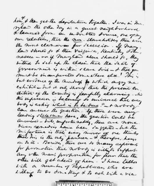 Richard W. Thompson to Abraham Lincoln, Tuesday, December 25, 1860  (Report from Washington D.C.)