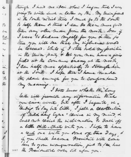Richard W. Thompson to Abraham Lincoln, Tuesday, June 12, 1860  (Know Nothings and 1860 election)