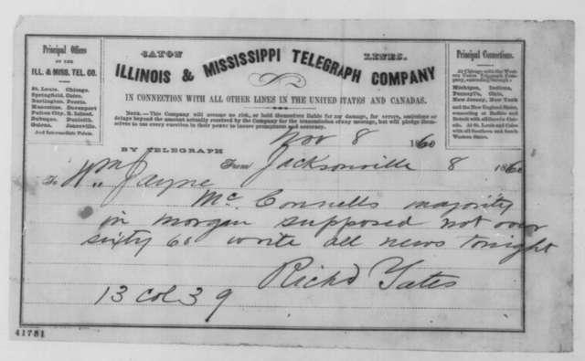 Richard Yates to William Jayne, Thursday, November 08, 1860  (Telegram reporting election results)