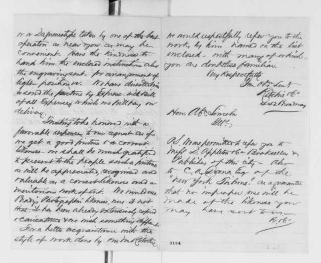 Ritchie & Co. to Abraham Lincoln, Thursday, June 28, 1860  (Sends engraving)