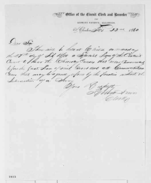Robert Lewis to Abraham Lincoln, Wednesday, February 22, 1860