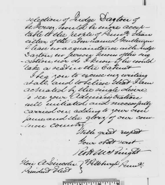 Robert McKnight to Abraham Lincoln, Saturday, December 29, 1860  (Cameron does not enjoy confidence of the people of Pennsylvania)