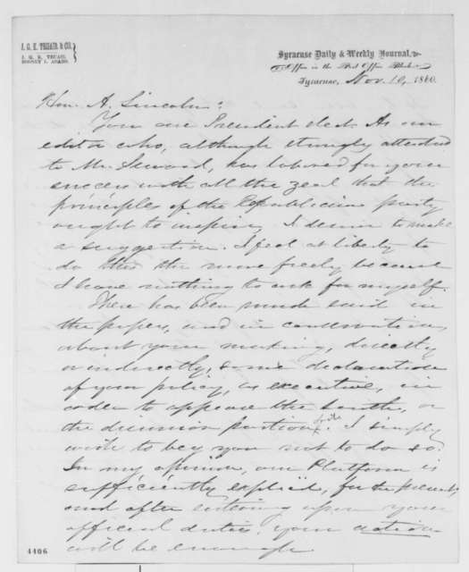 Rodney L. Adams to Abraham Lincoln, Saturday, November 10, 1860  (Lincoln should not issue statement to the South)
