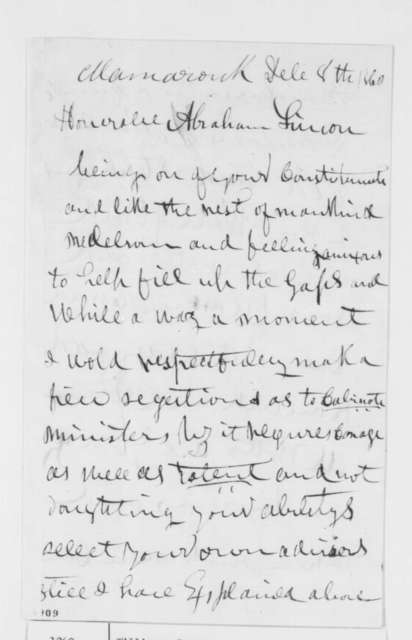 Roger Williams to Abraham Lincoln, Saturday, December 08, 1860  (Cabinet advice)