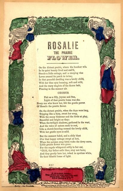 Rosalie the prairie flower. H. De Marsan, Publisher, ... 38 & 60 Chatham Street, N. Y