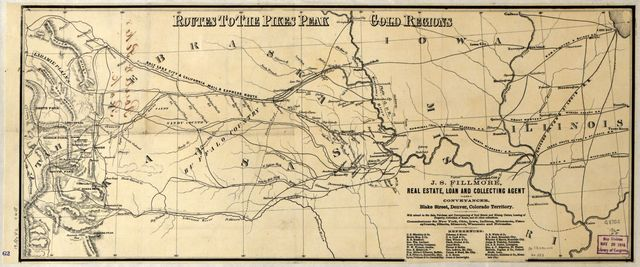 Routes to the Pikes Peak gold regions.
