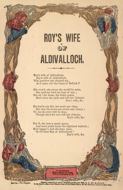 Roy's wife of Aldivalloch. H. De Marsan, Publisher, 38 & 60 Chatham Street, N. Y