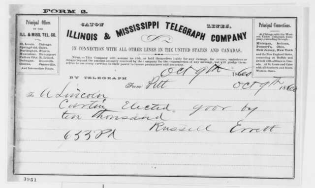 Russell Errett to Abraham Lincoln, Tuesday, October 09, 1860  (Telegram reporting election results in Pennsylvania)