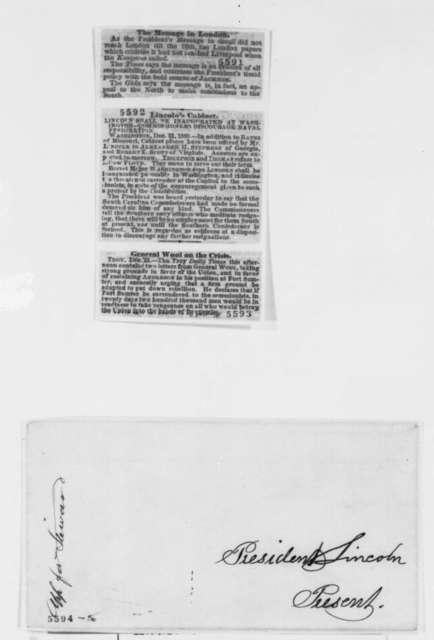 S. Austin Allibone to Abraham Lincoln, Monday, December 31, 1860